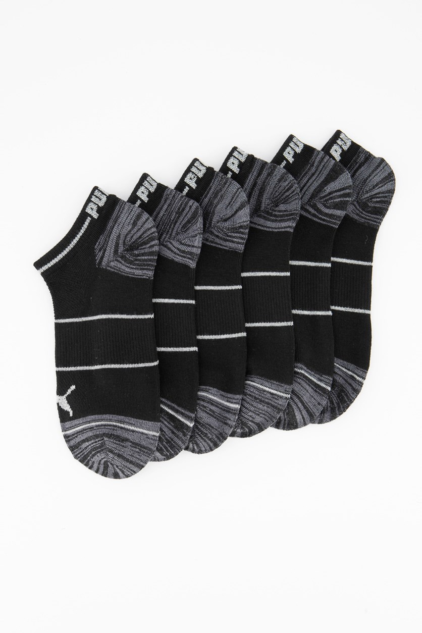 Women's 6 Pairs Training Low Cut Socks, Black/Grey