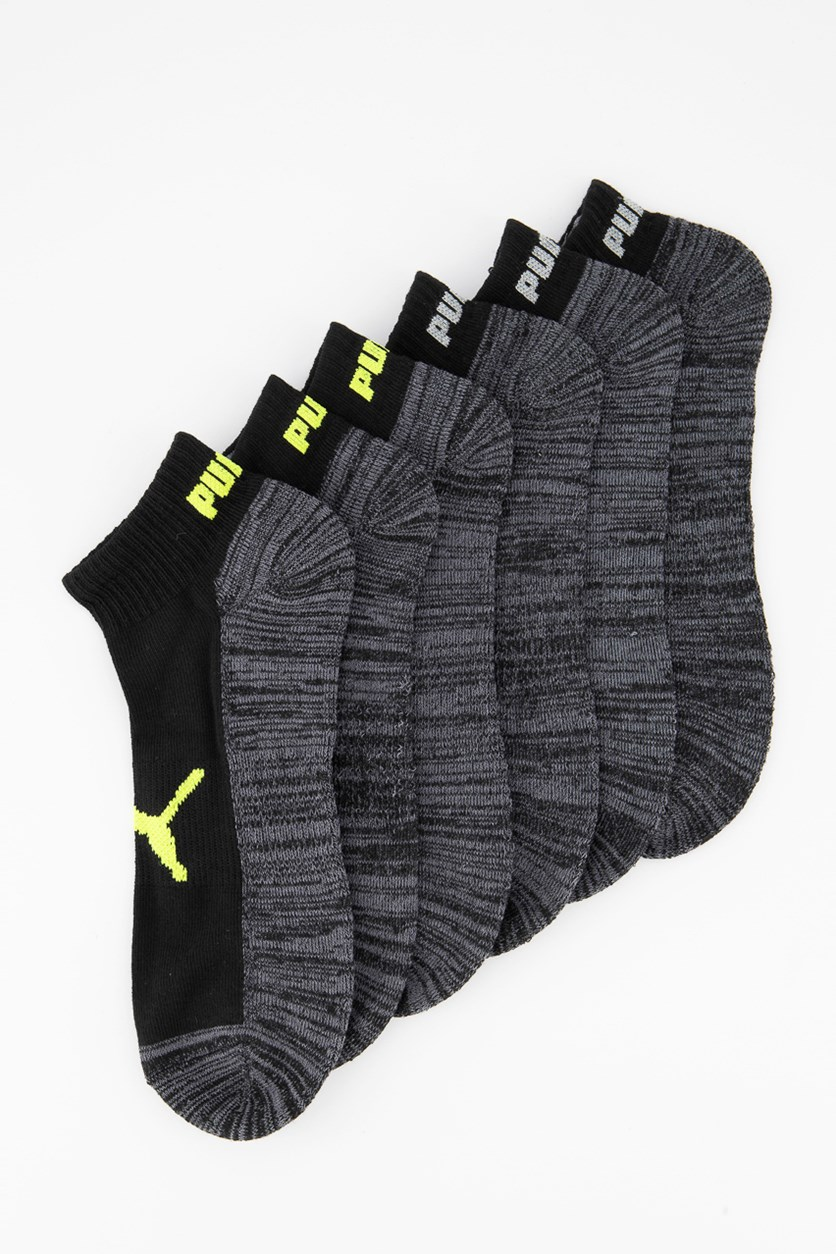 Men's 6 Pack Performance Quarter Crew Socks, Heather Black Combo