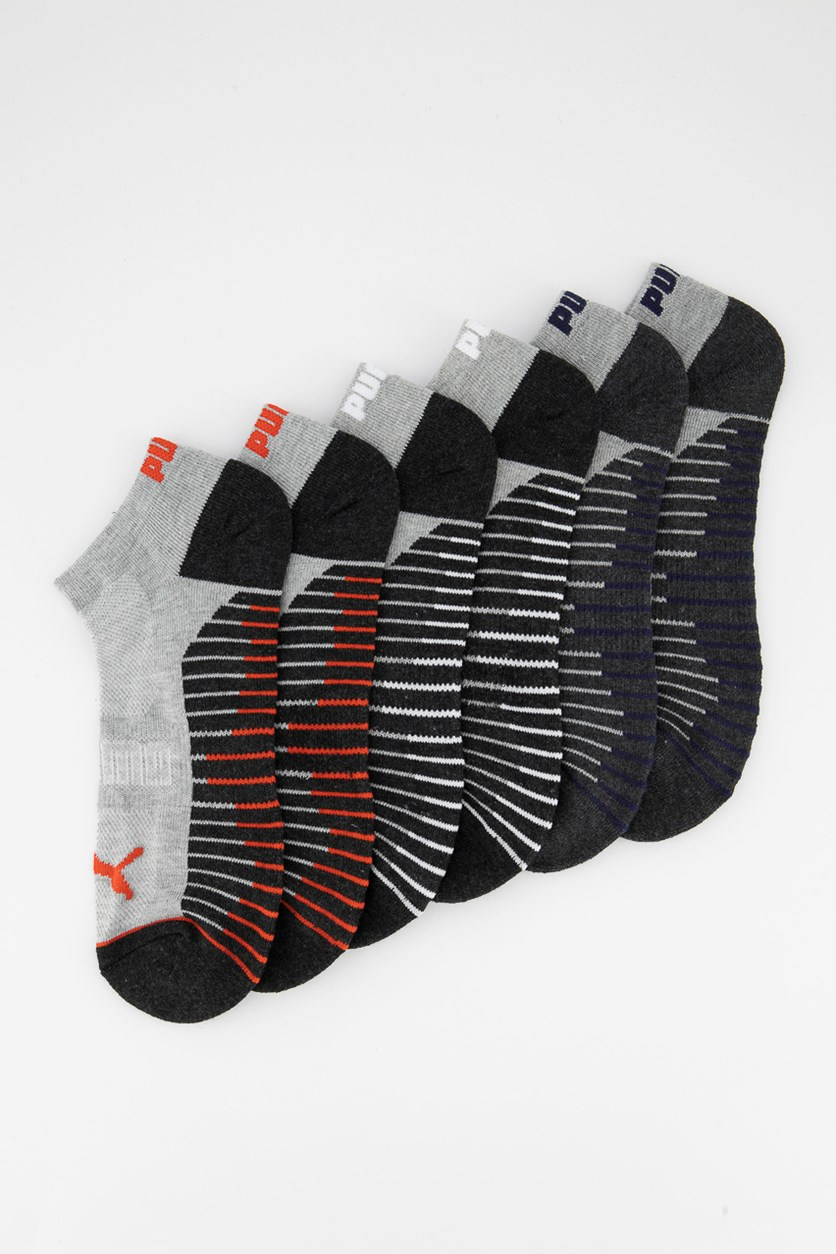 Men's 6 Pack Training Low Cut Socks, Black/Grey/White/Red