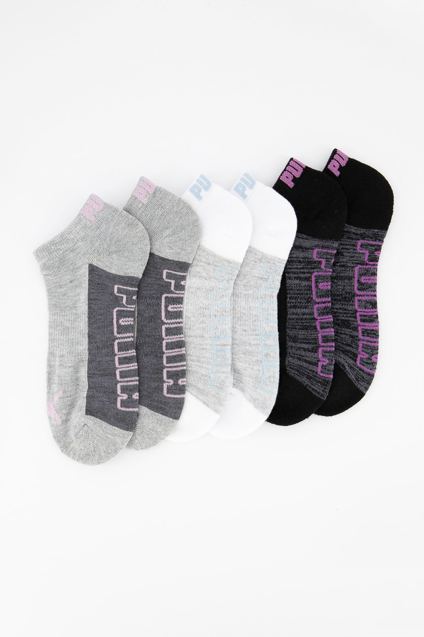 Women's 6 Pairs Performance Low Cut Socks, Heather Grey/White