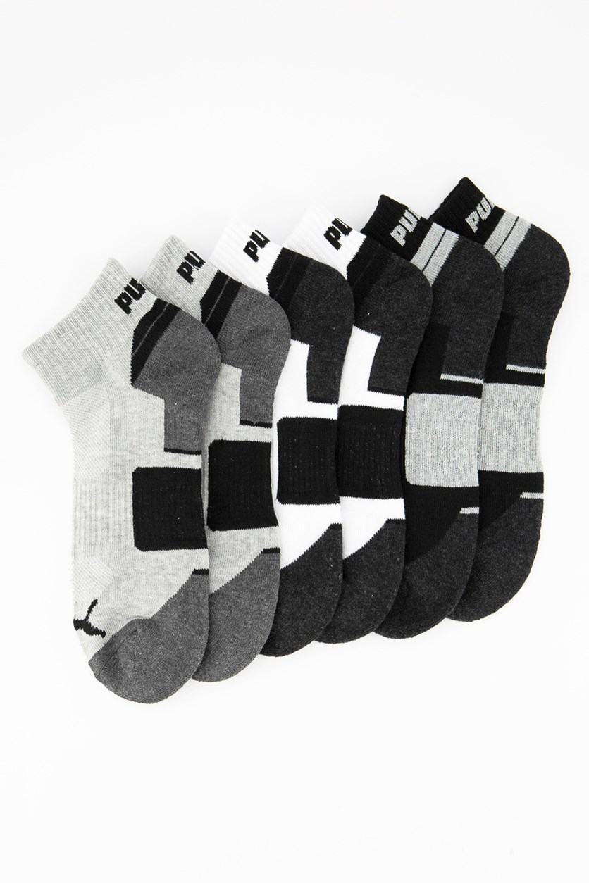 Men's 6 Pairs QTR Crew Sock, Gray/White/Black