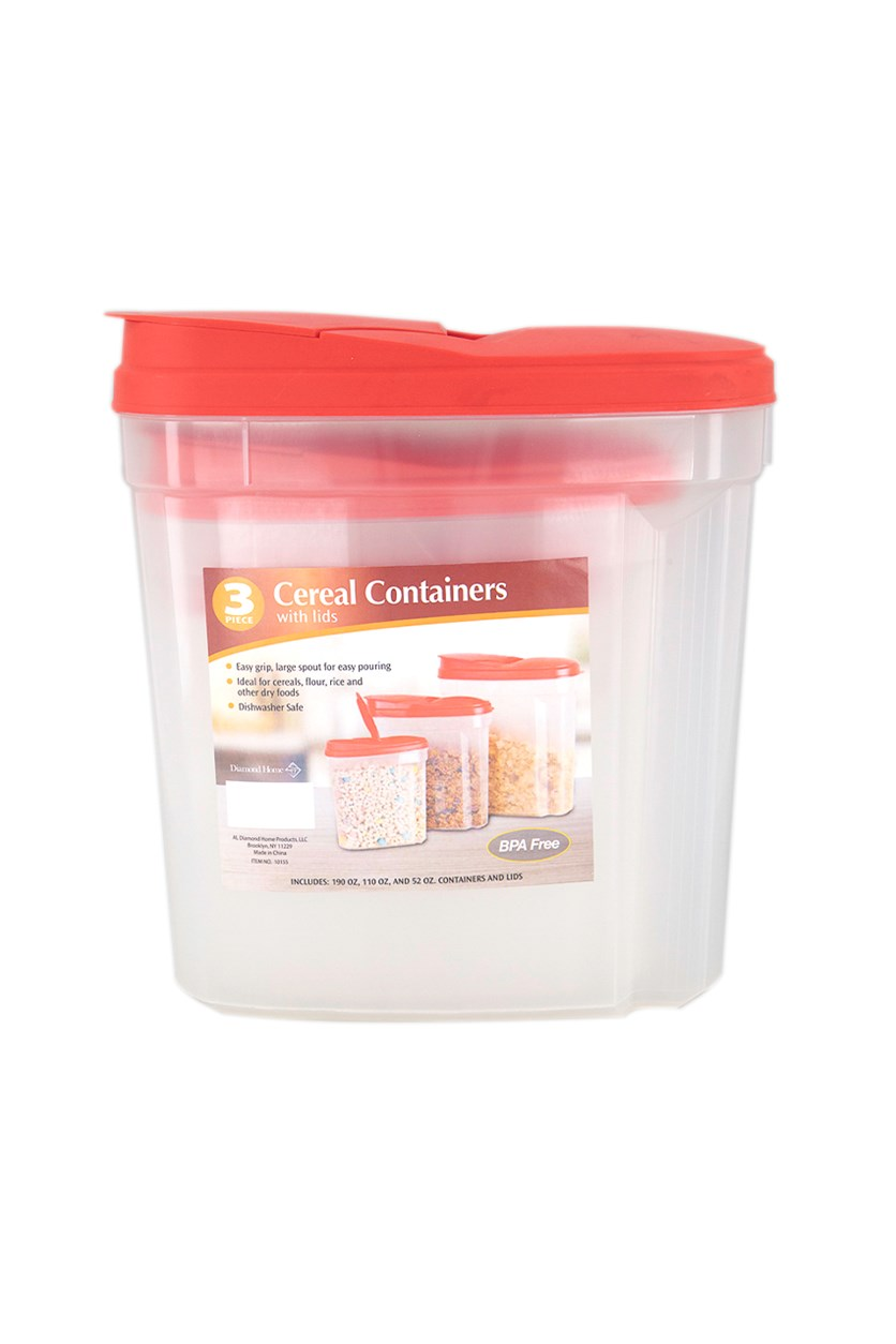 3-Pc Cereal Containers with Lids, Red