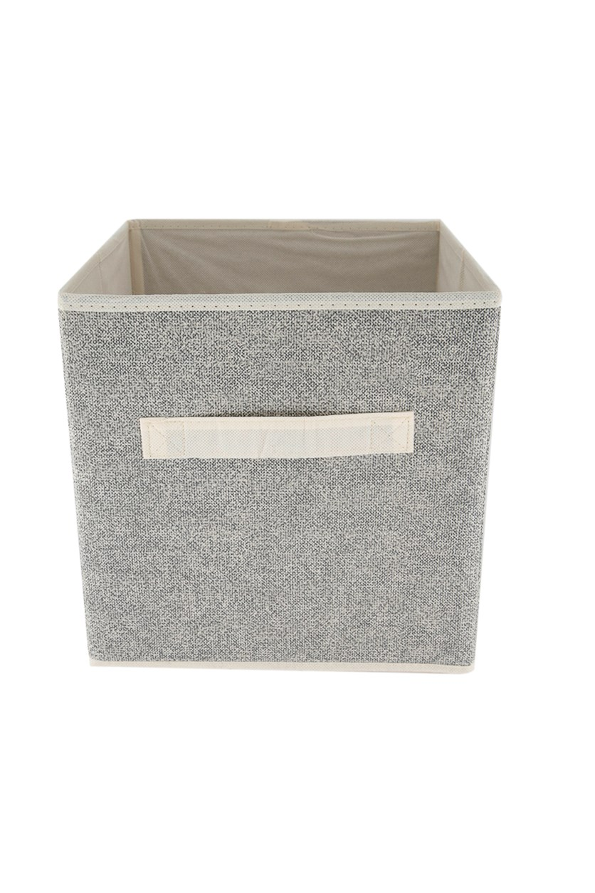 Storage Cube With Handle, Beige/Gray