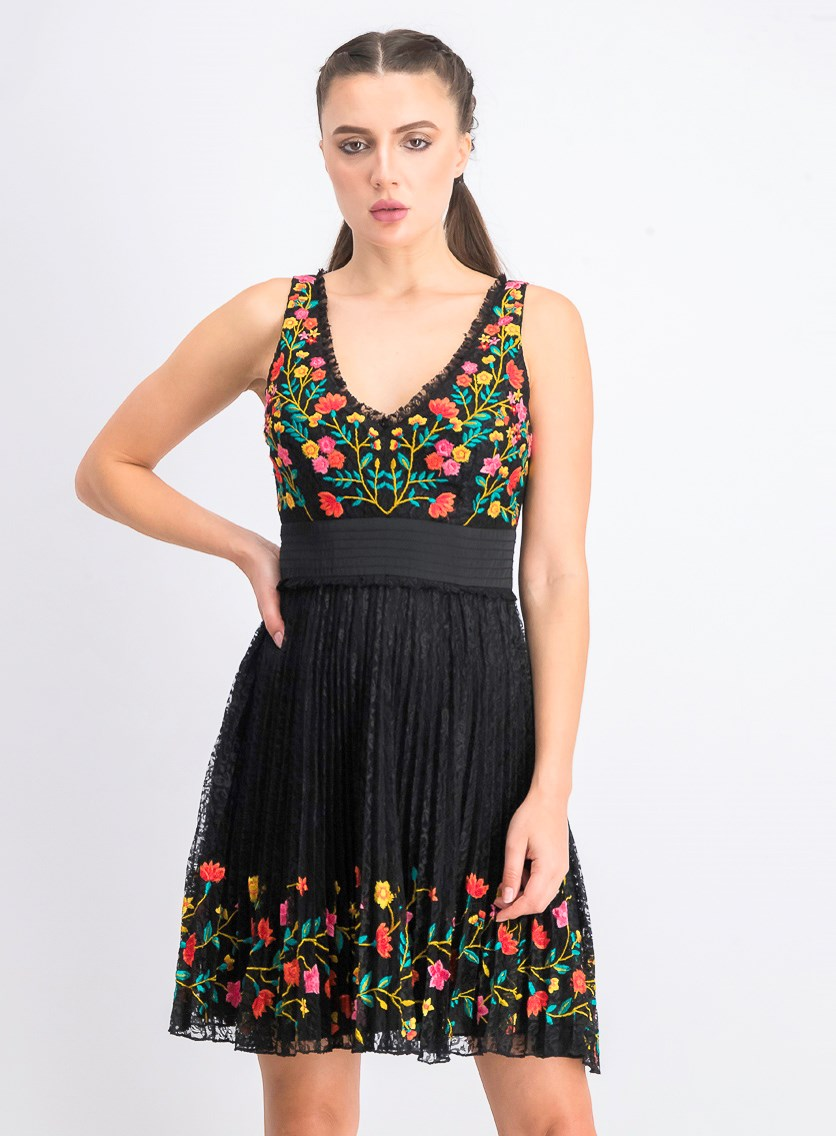 Women's Amity Lace Embroidered Dress, Black Combo