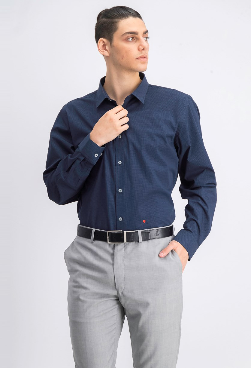 Men's Long-sleeve Micro-check Shirt, Blue/Black