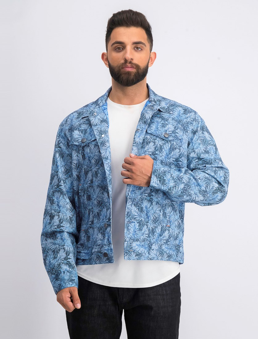 Men's Slim-Fit Stretch Leaf Trucker Jacket, Green/White/Blue