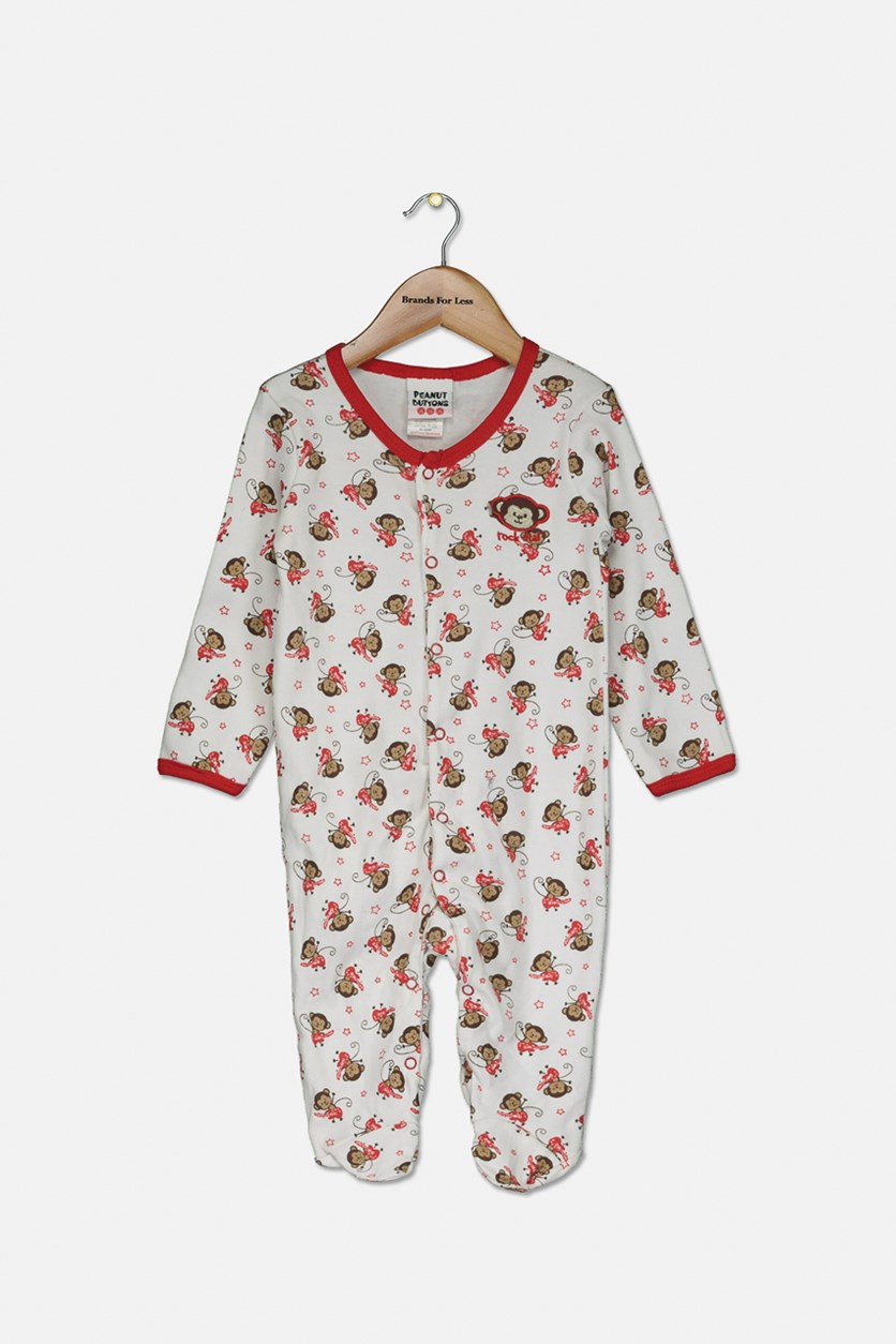Baby Boys Printed Bodysuit, White/Red
