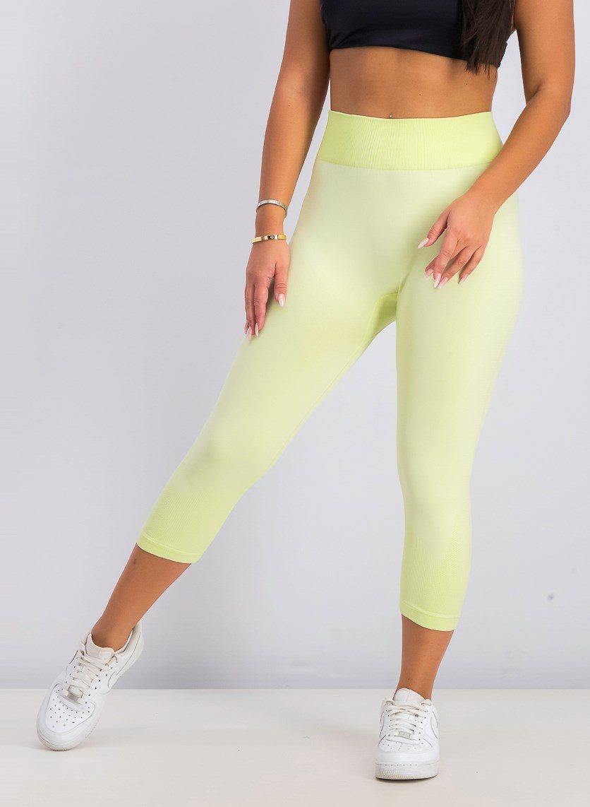 Women's Seamless Capri Leggings, Lime Mist
