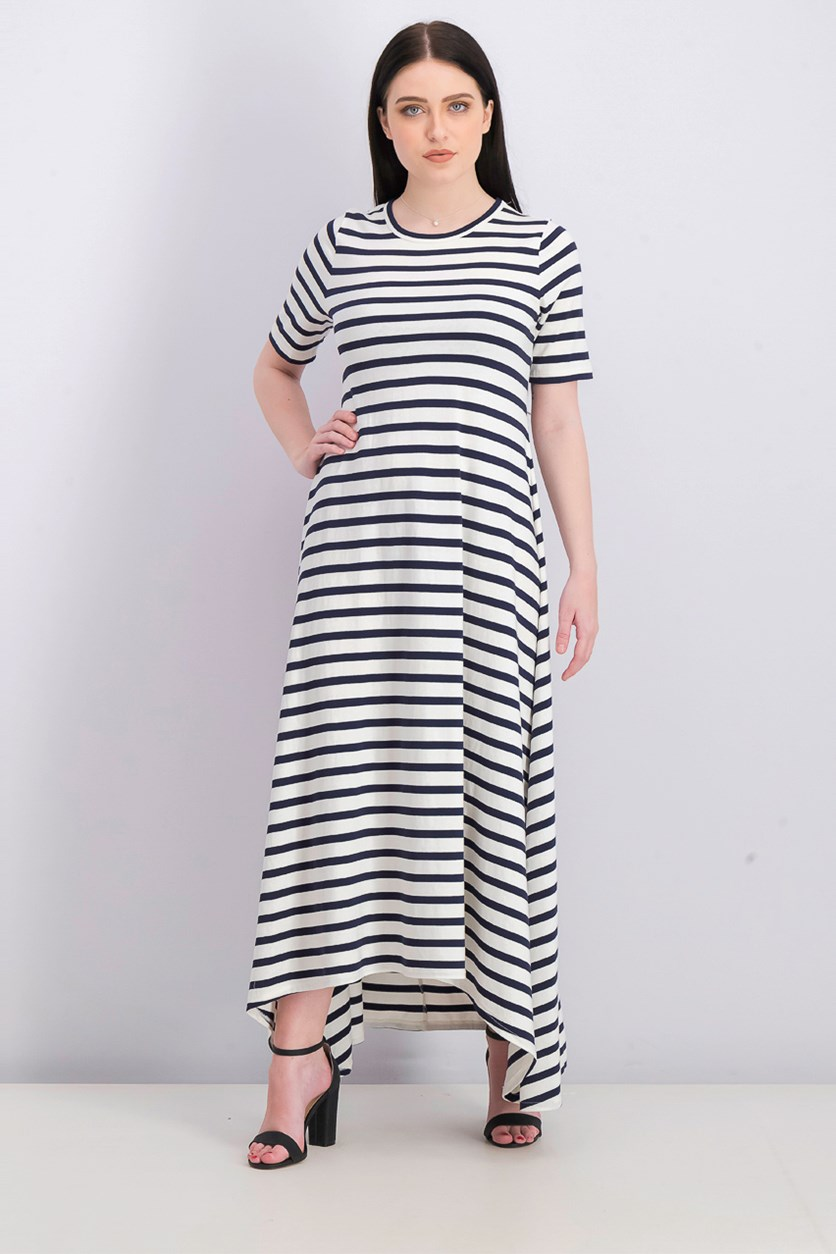 Women Stripe Sunset Knit Maxi Dress, Navy/White