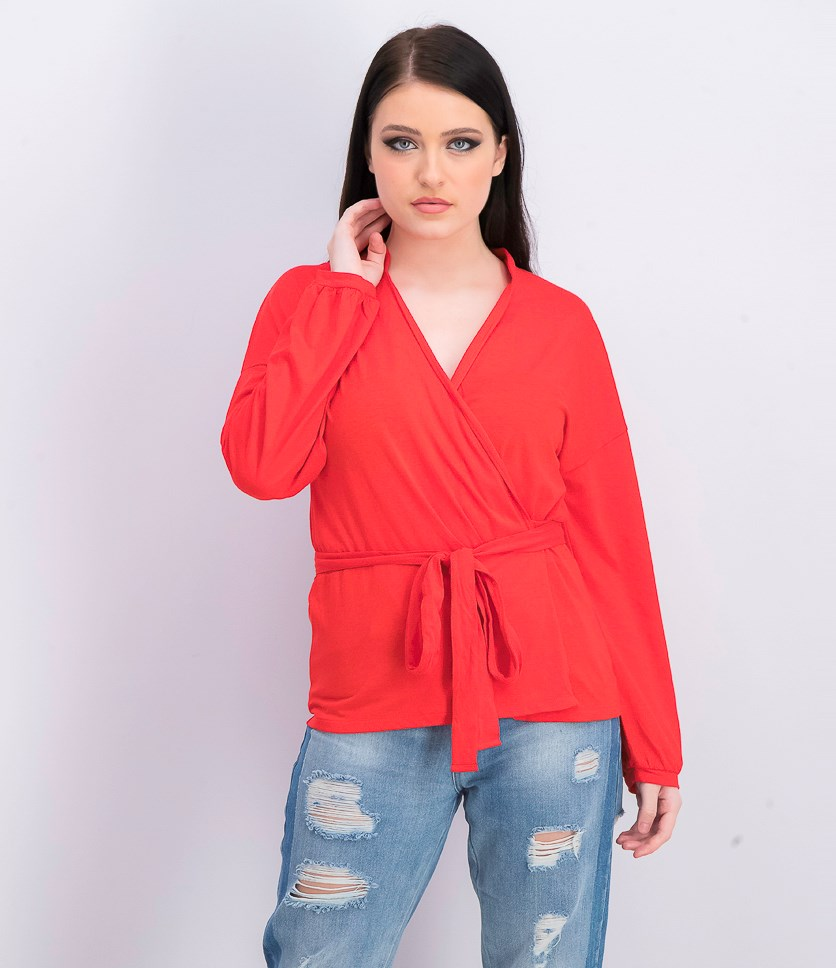 Womens Collared Wrap Top, Red