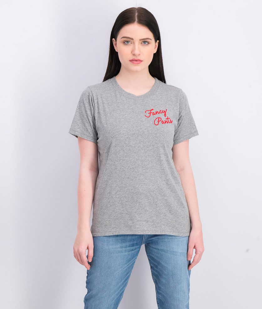 Women's Fancy Pants Embroidered T-shirt, Heather Grey