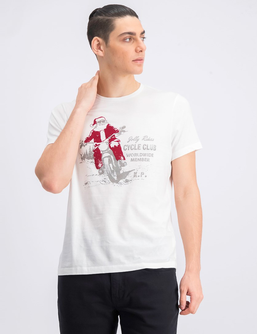 Mens Jolly Riders Graphic T-Shirts, White Combo