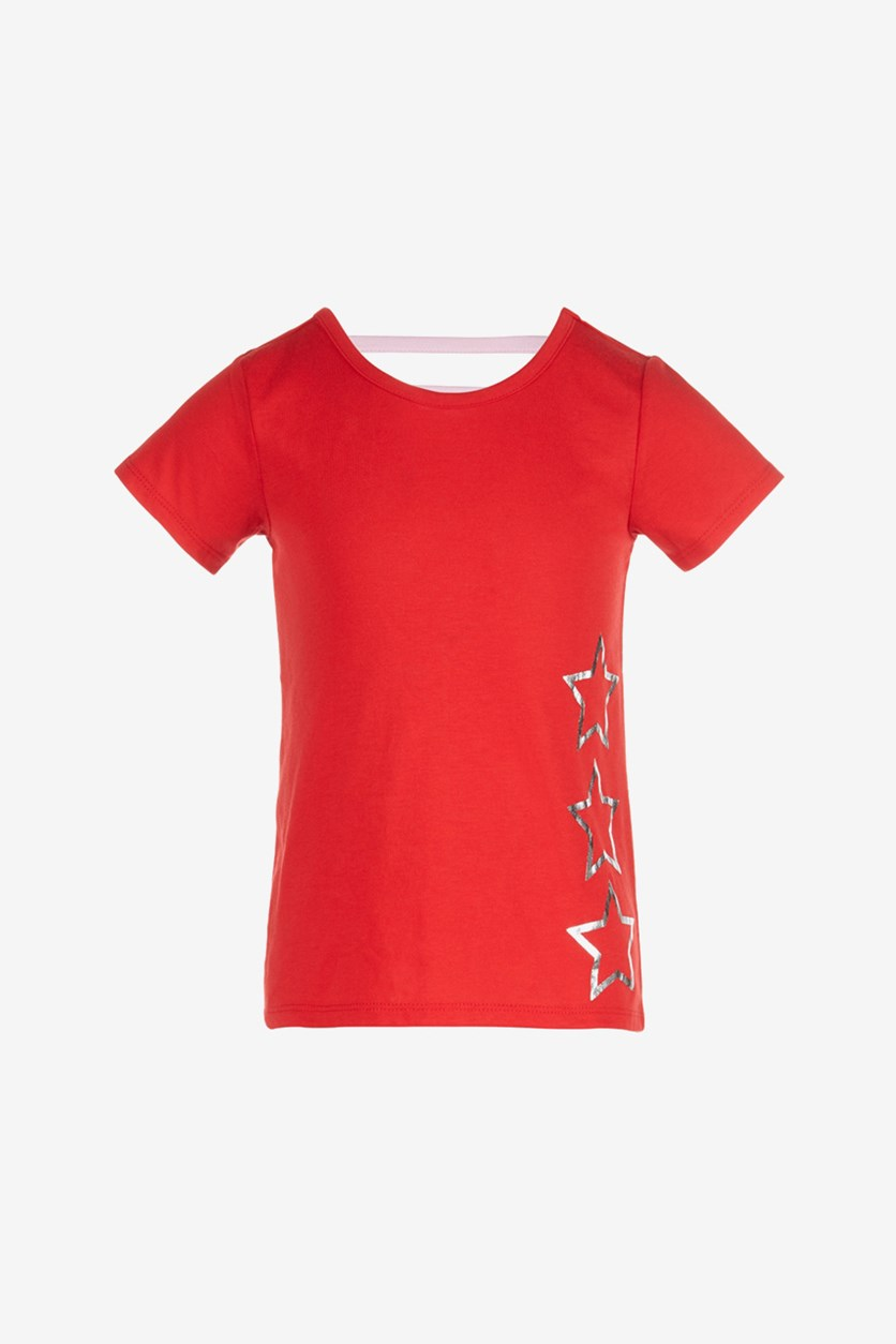 Big Girls Star-Print T-Shirt, Chinese Red