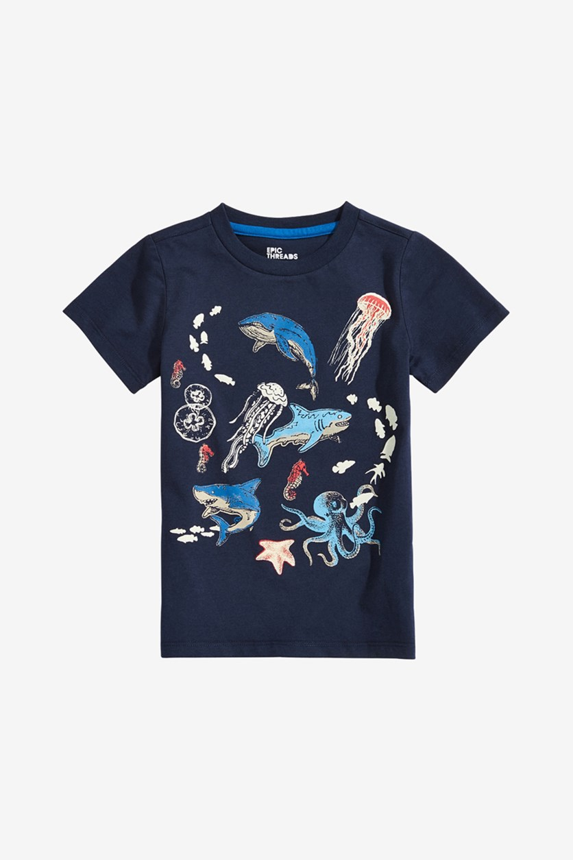 Toddler Boys Sea Life Graphic T-Shirt, Navy