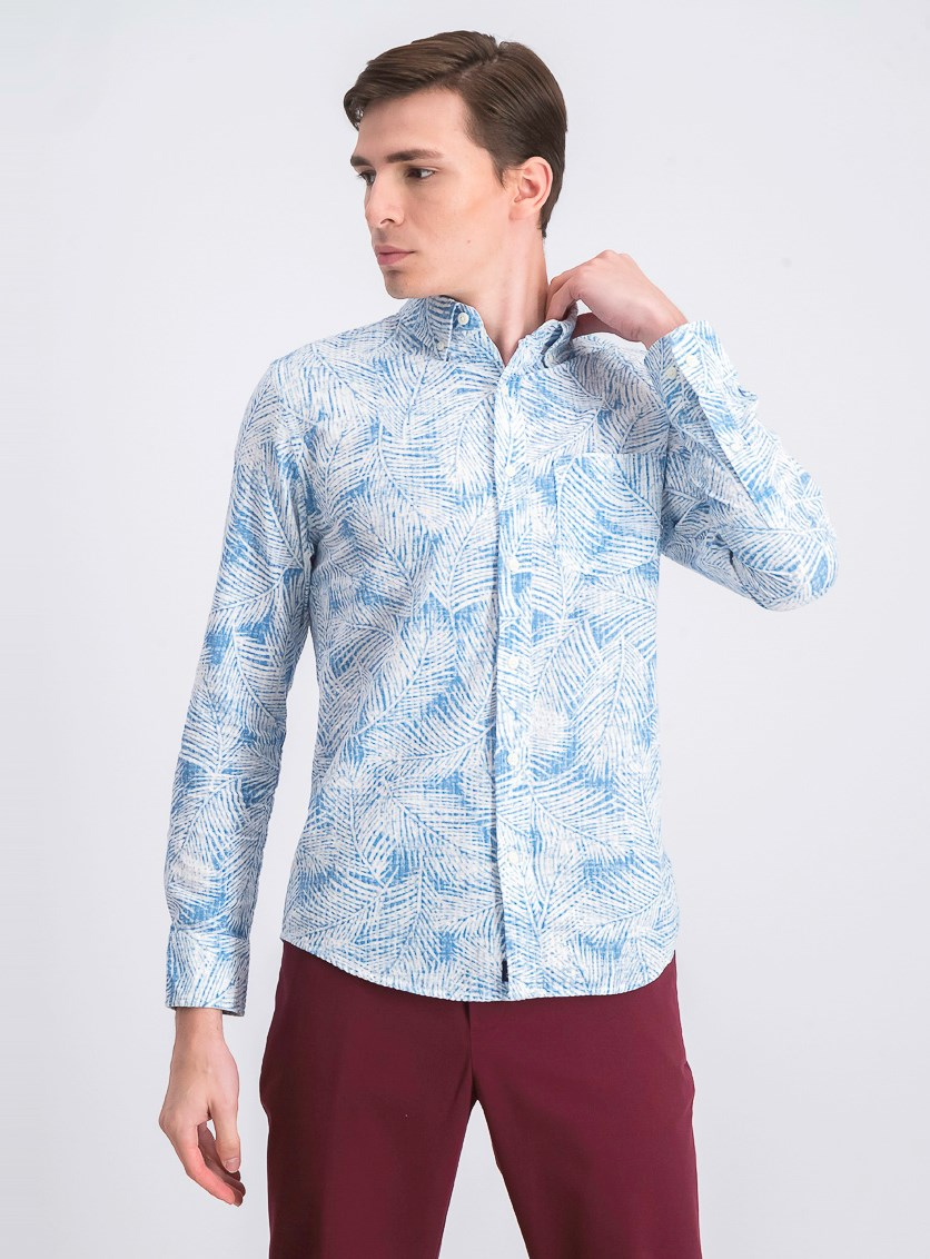 Men's Long Sleeve Shirt, Blue/White
