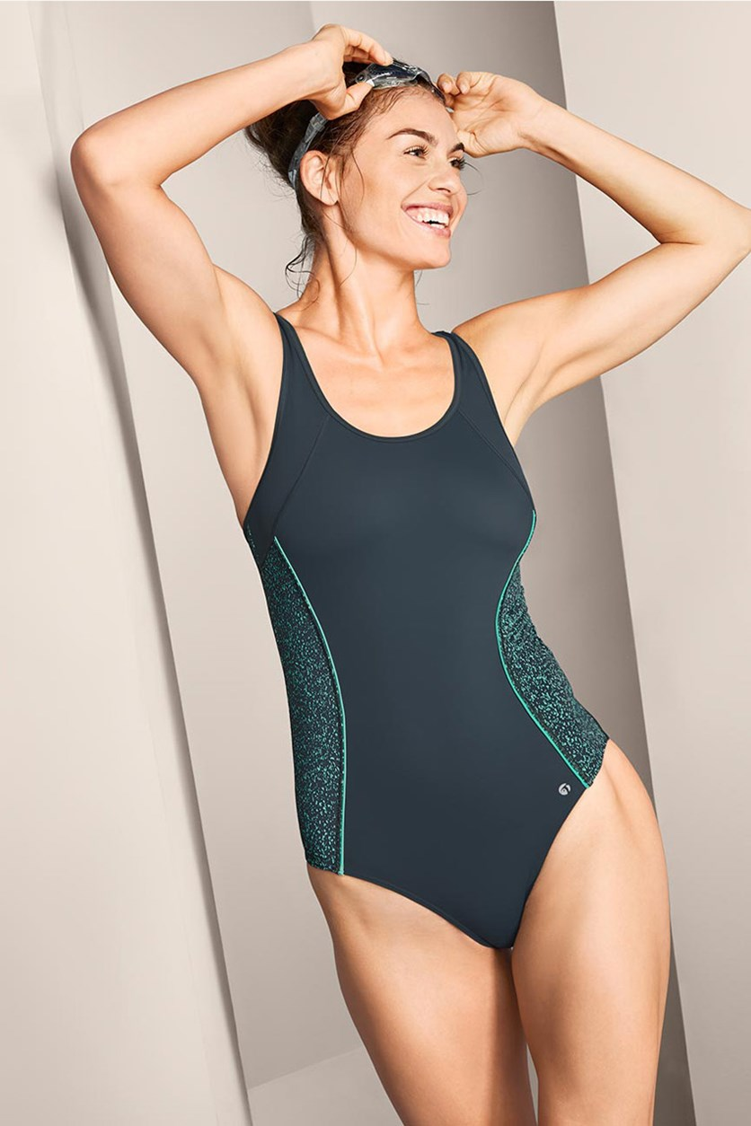 Women's Sports Swimsuit, Dark Turquoise/Gray
