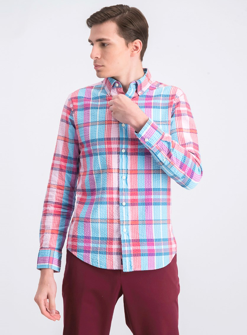 Men's Long Sleeve Shirt, Pink/Blue