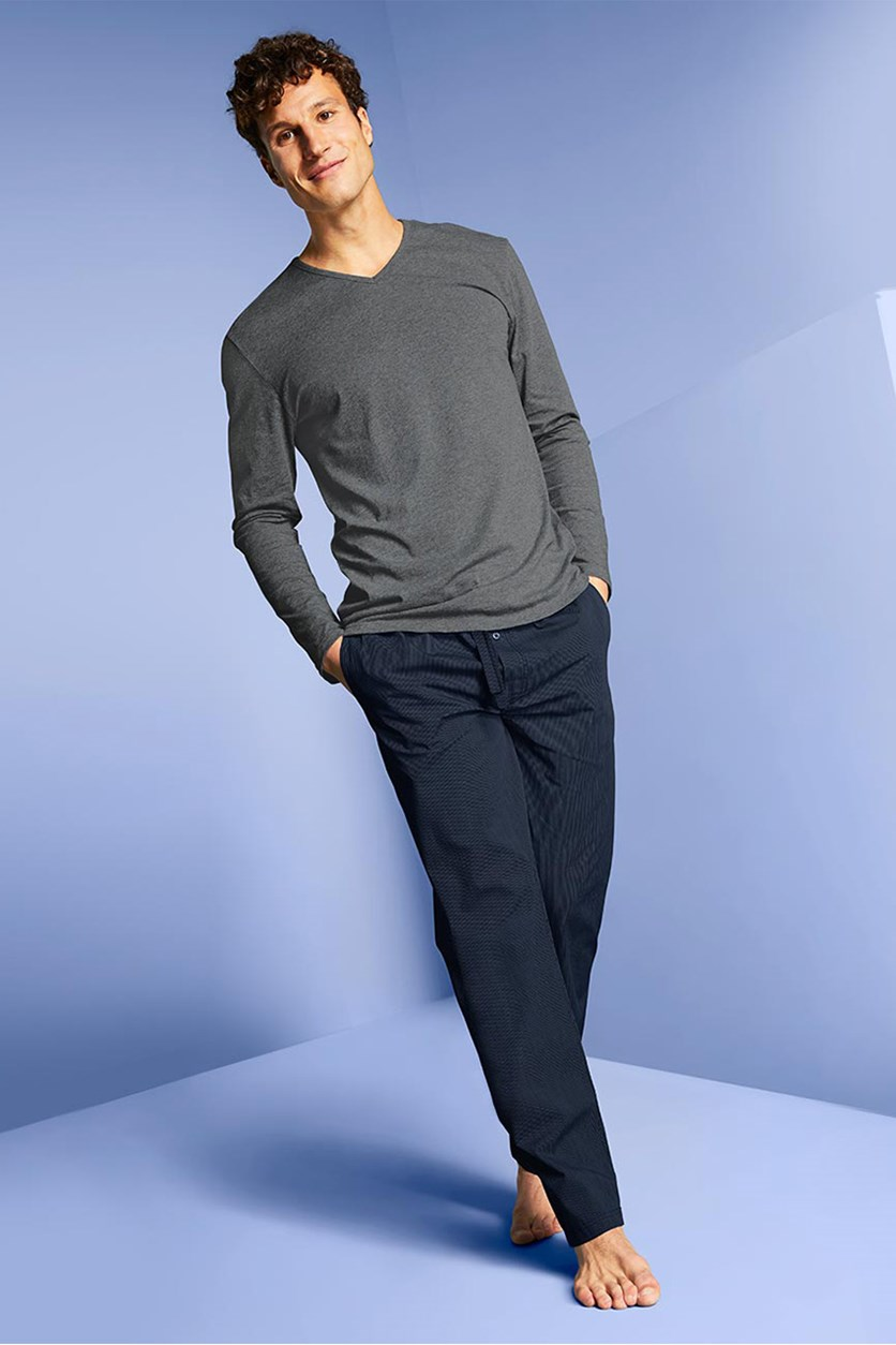 Men's Knit Pajamas Set, Grey Combo
