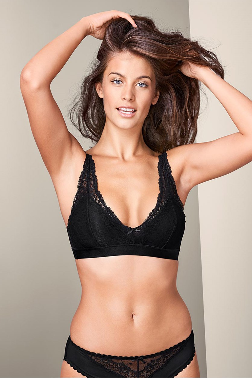 Women's Solf Lace Bra, Black