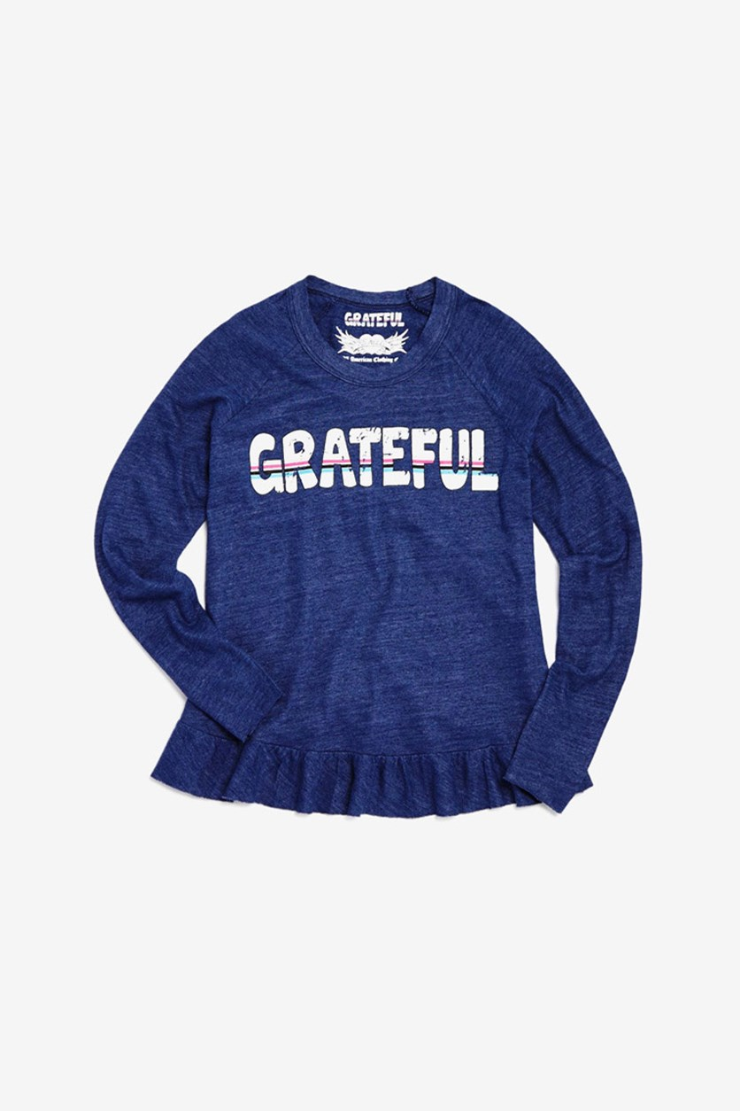 Girls' Ruffled-Trim Grateful Tee, Navy