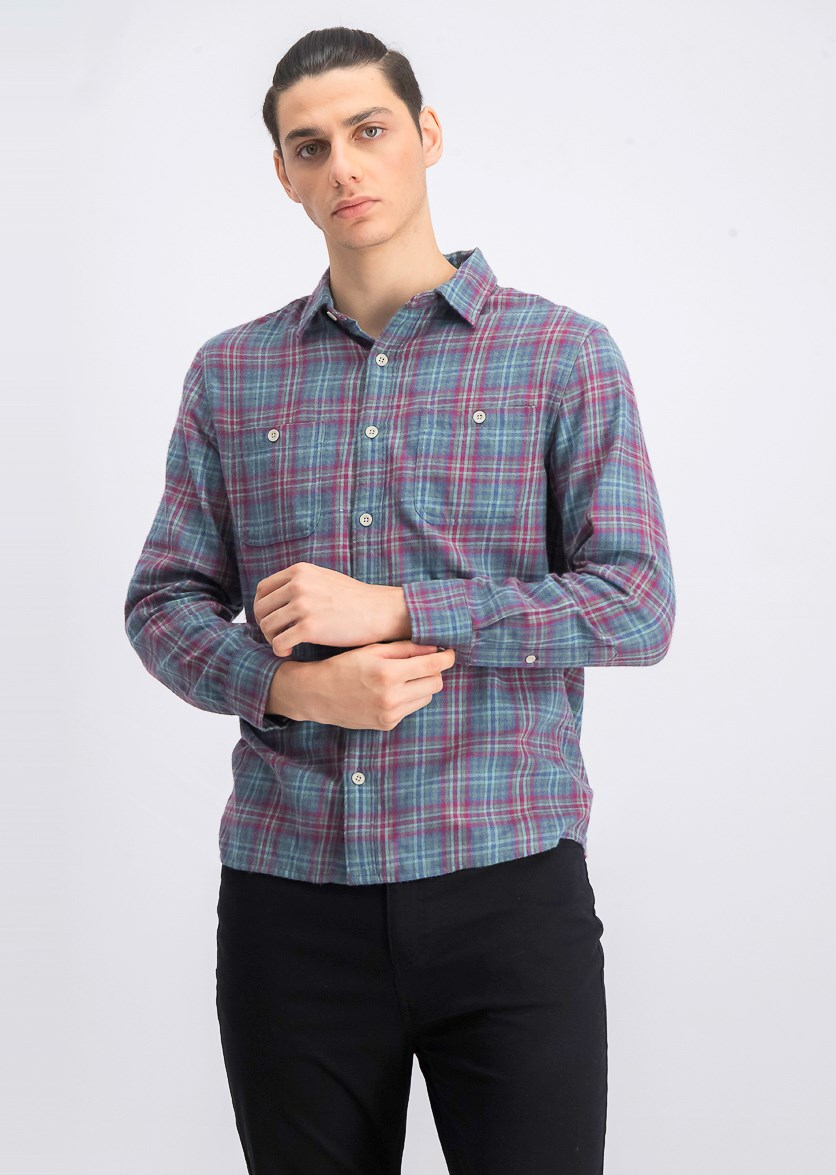 Men's Long Sleeve Plaid Twill Shirt, Pink Combo
