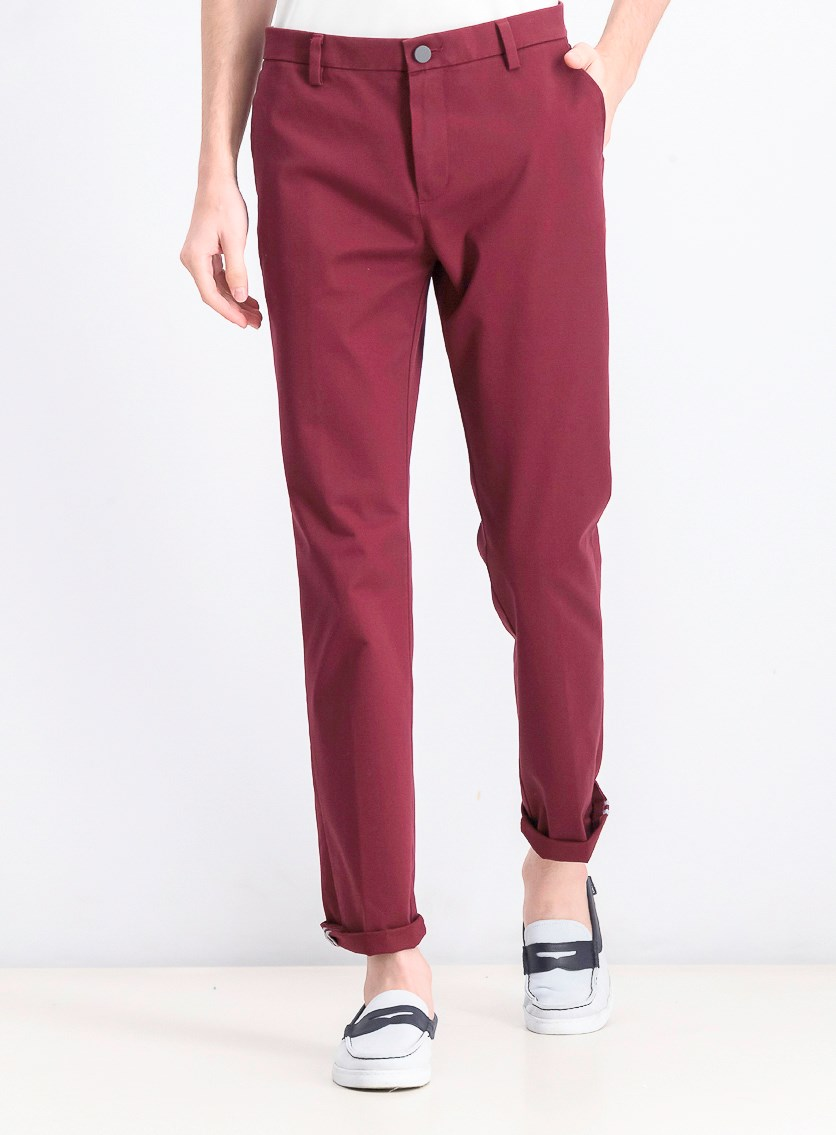 Men's Slim Fit Tech Chino Pants, Burgundy