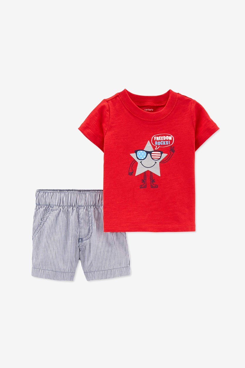 Baby Boys Cotton Freedom-Print T-Shirt & Shorts Set, Red Combo