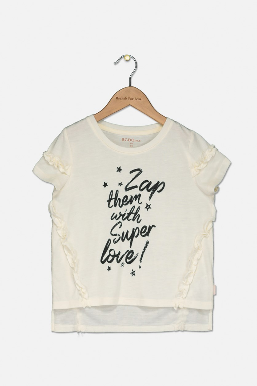 Girls Super Love Ruffle Tee, Ivory