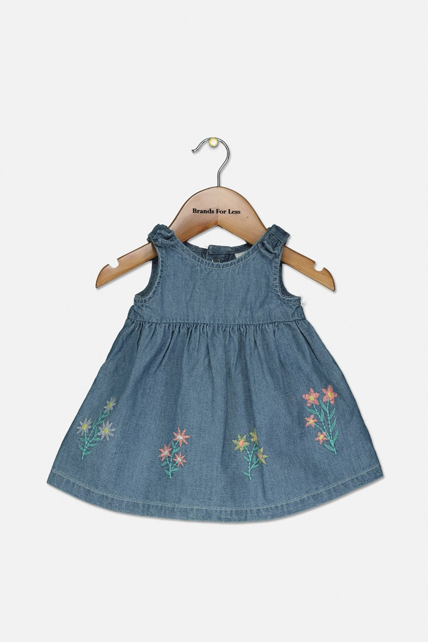 Baby Girls Embroidered Cotton Chambray Dress, Navy