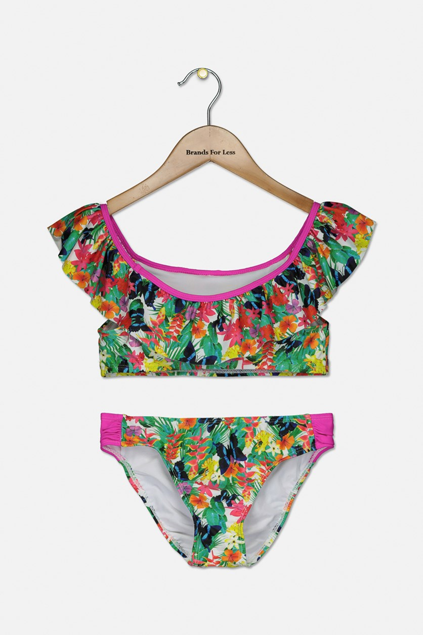 Kid's Girl Floral 2 Piece Set Swimwear, Pink Combo