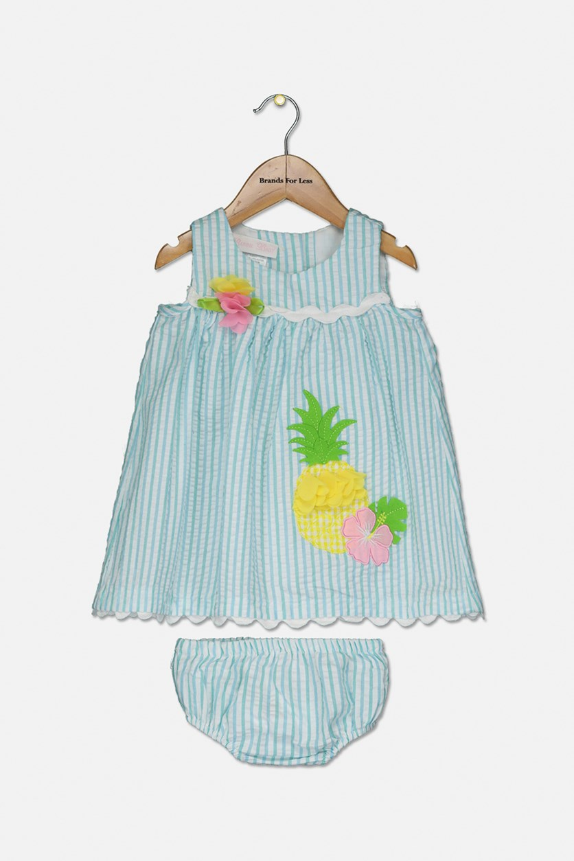 Baby Baby Girls Striped Seersucker Dress, Aqua Combo