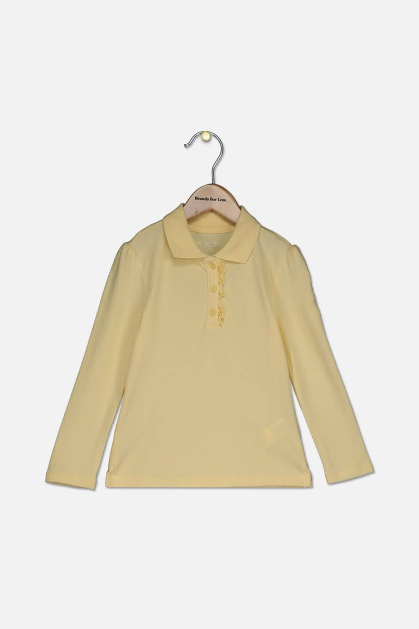 Girl's Long Sleeve Polo Shirt, Pale Sun