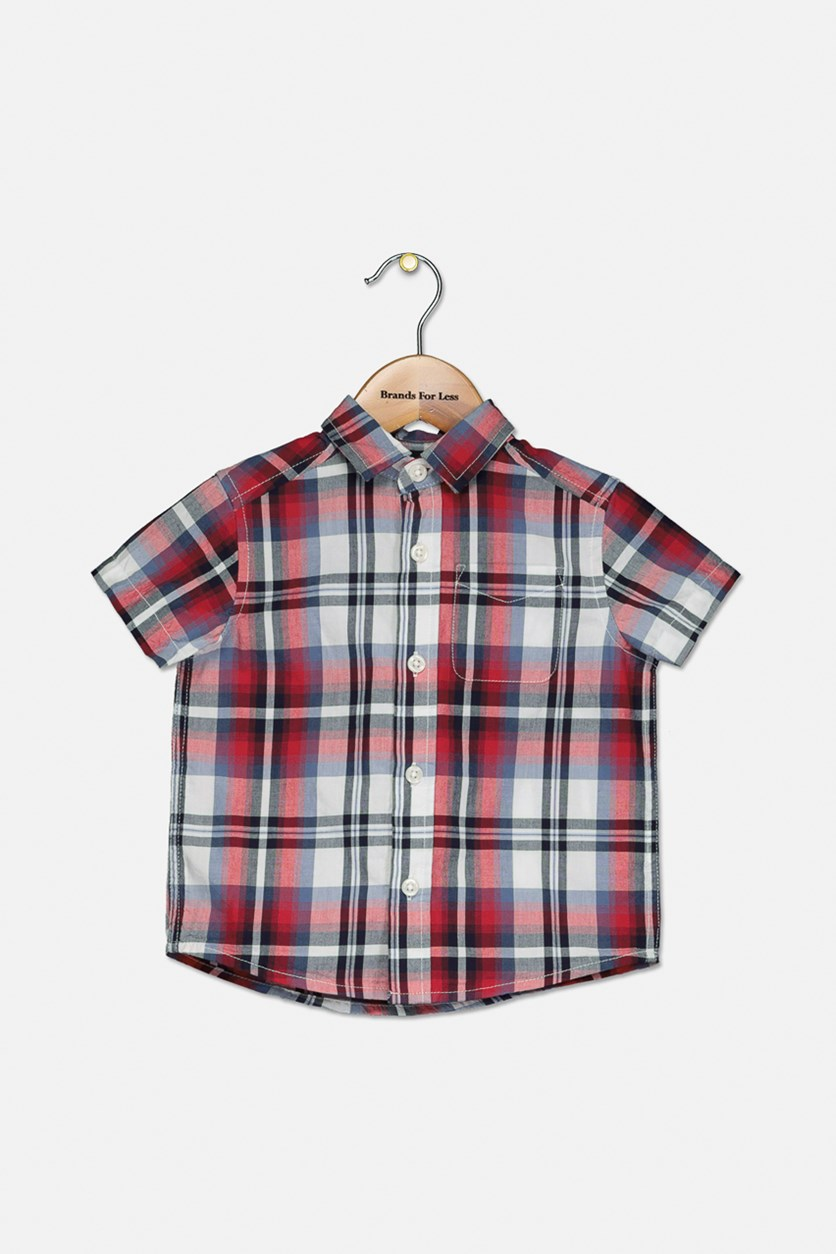 Baby Boys Plaid Casual Shirt, Ruby