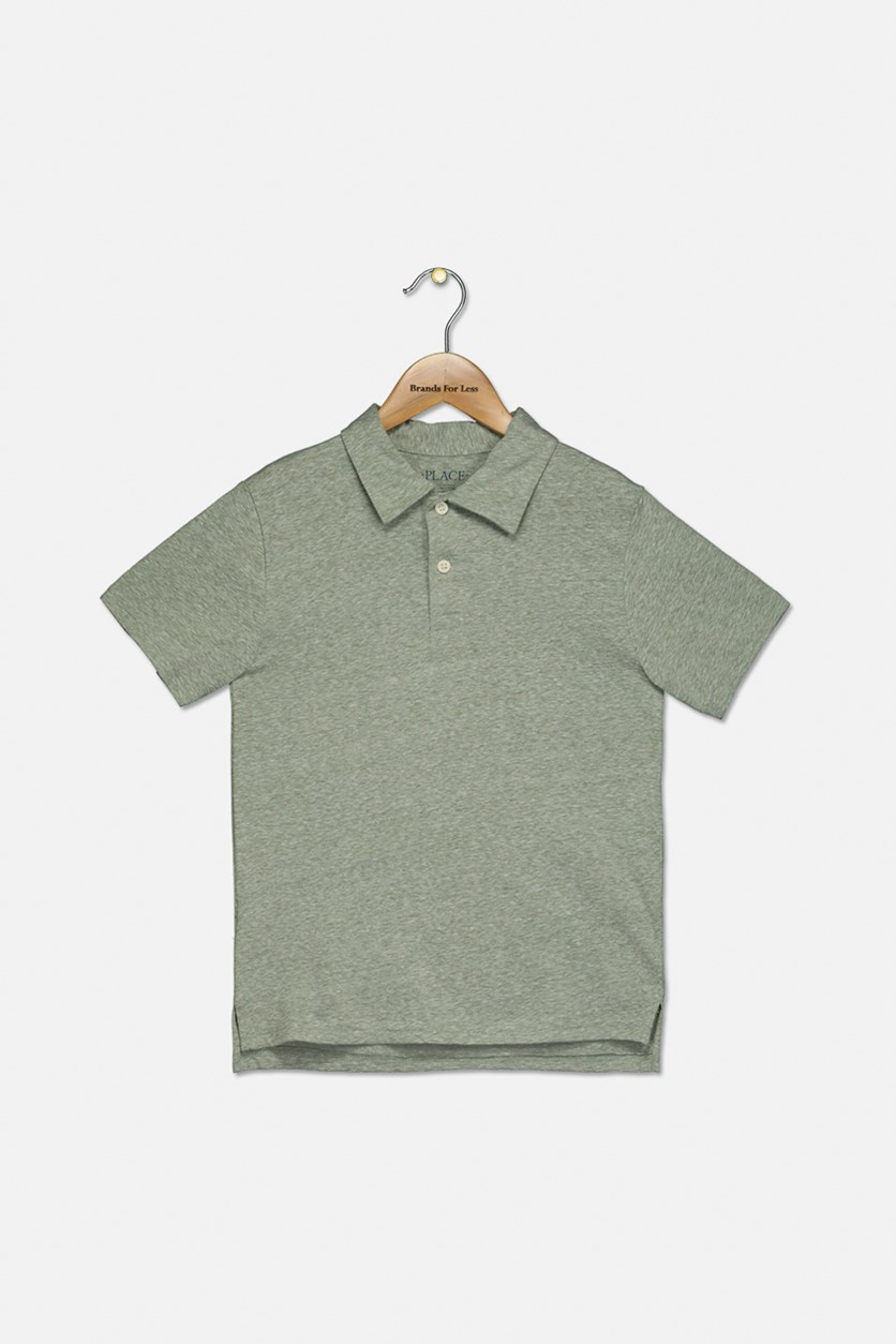 Boy's Heather Polo, Olive