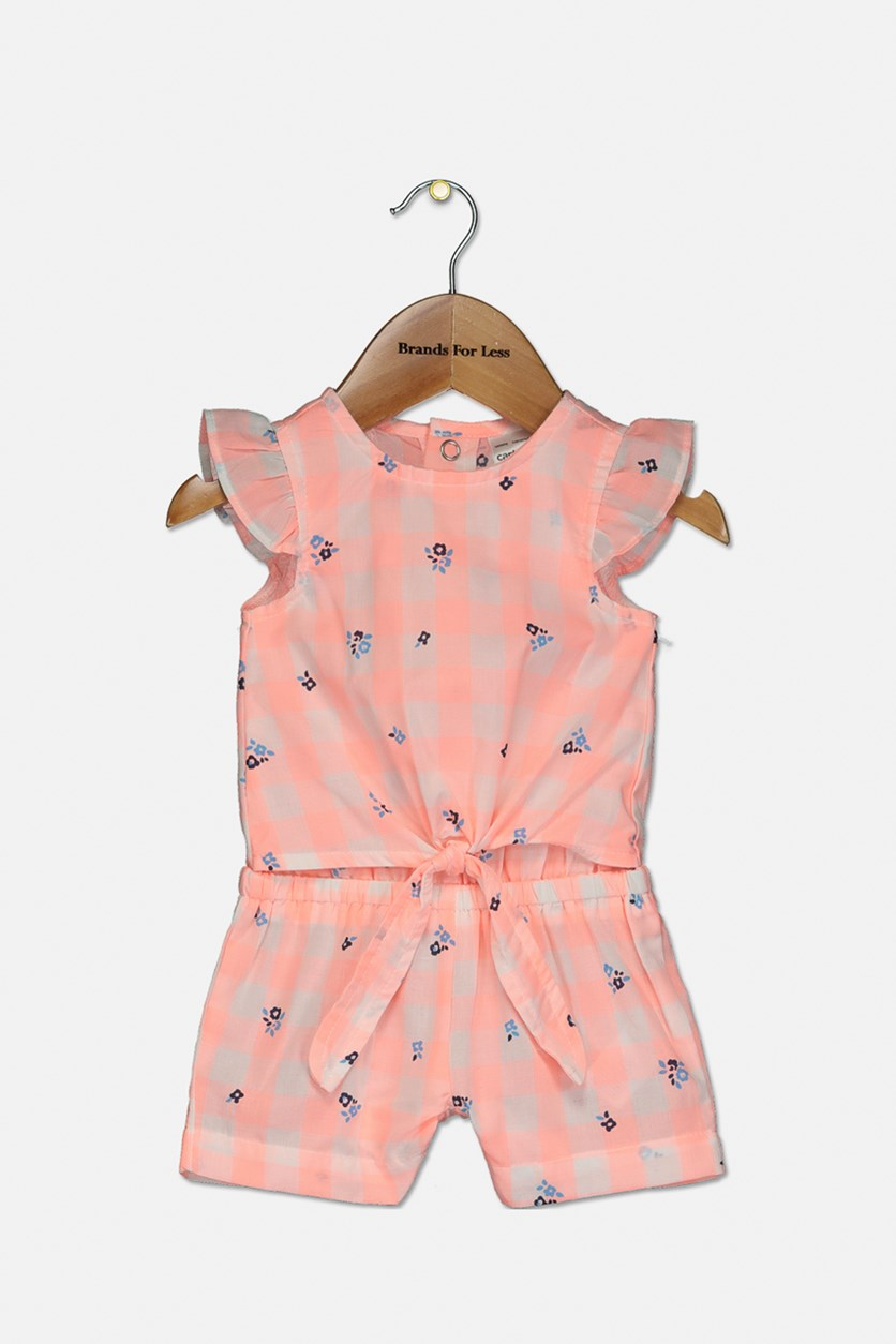 Baby Girl Carter's Gingham Floral Romper, Pink Combo