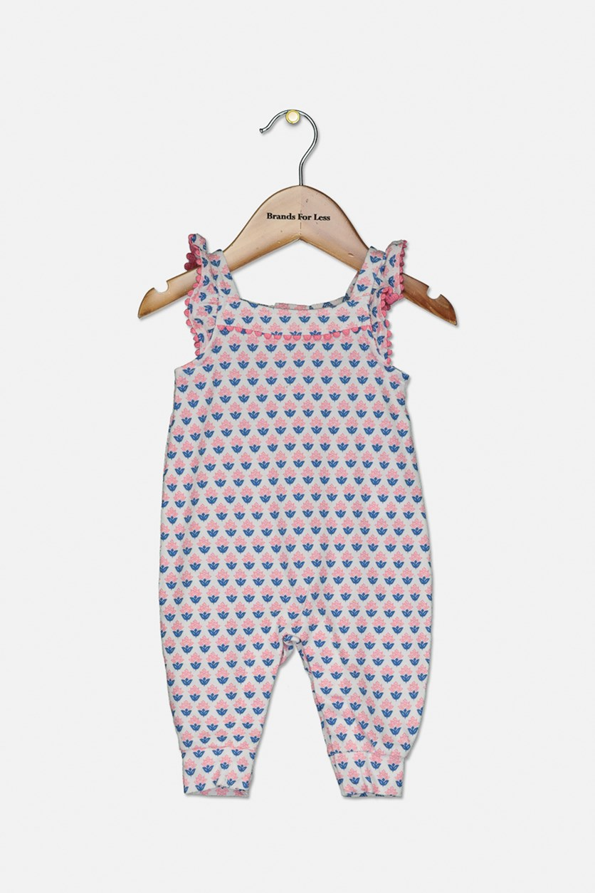 Baby Girls Geo-Print Cotton Jumpsuit, Pink Combo