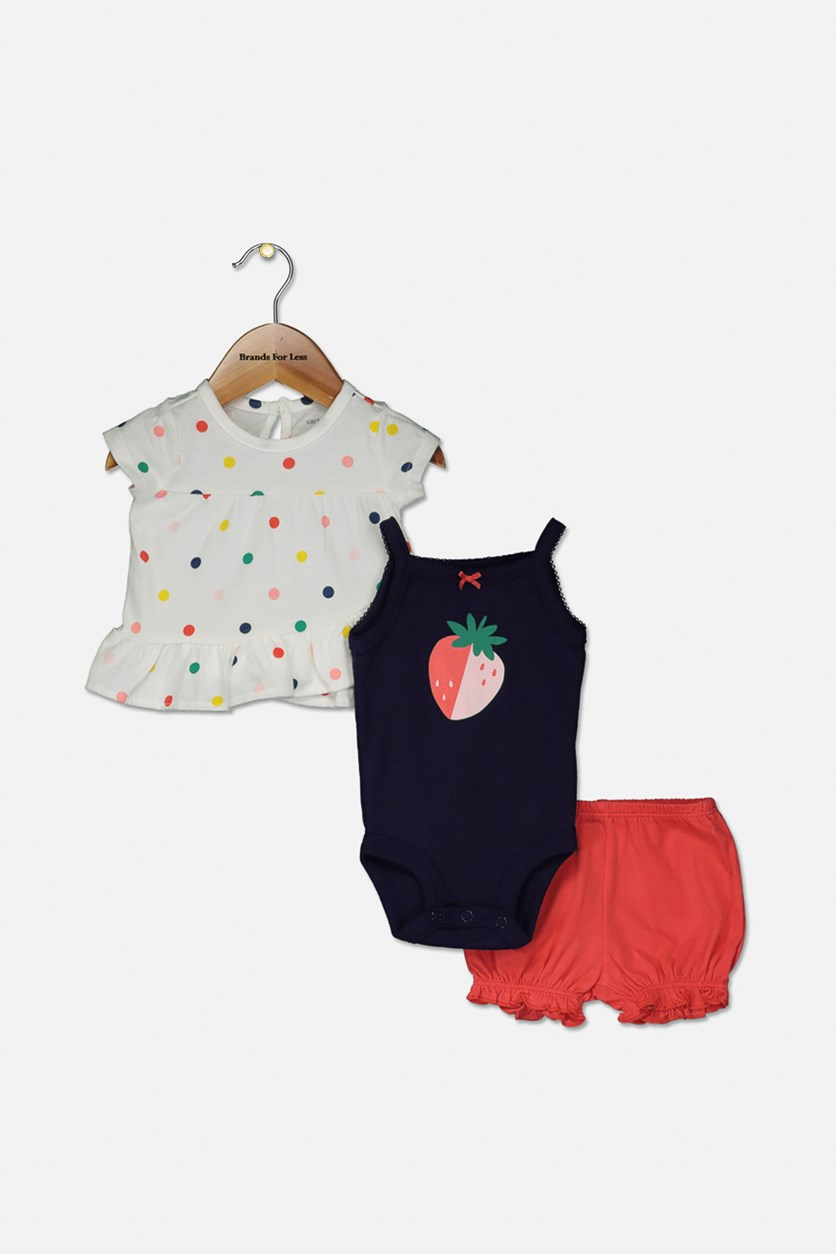 Baby Girl Carter's Polka-Dot Top,Bodysuit & Shorts Set, Navy Blue/White/Red