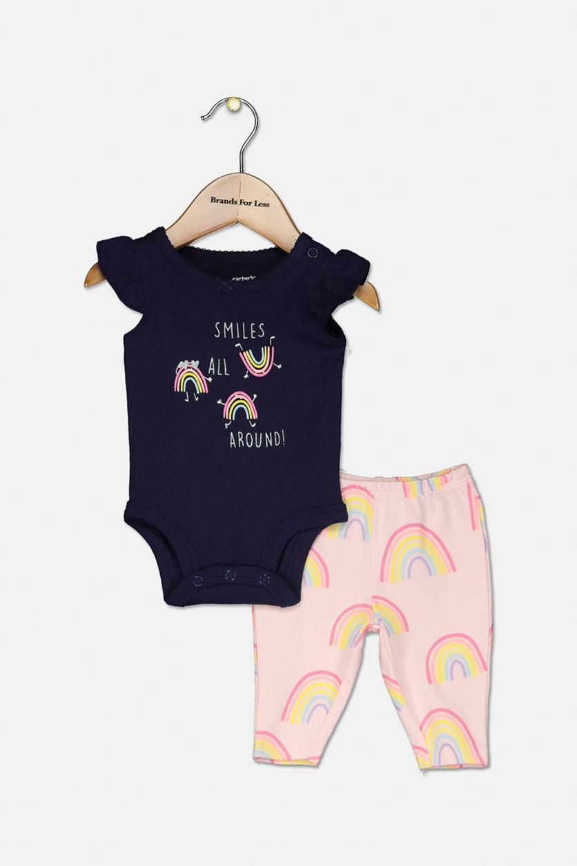 Baby Girls 2-Pc. Rainbow Graphic Cotton Bodysuit & Pants Set, Navy/Pink