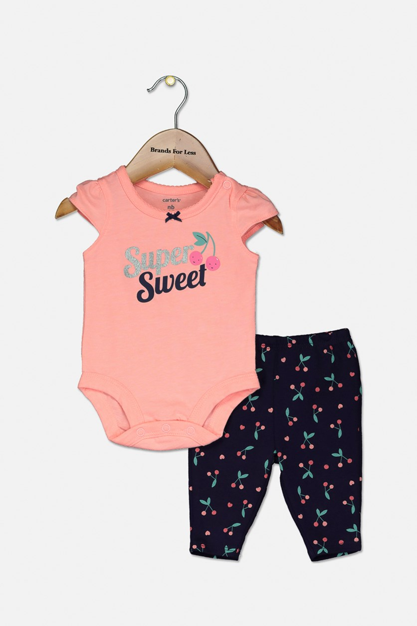 Baby Girls 2-Pc. Super Sweet Graphic Bodysuit & Cherry-Print Pants Set, Pink/Navy