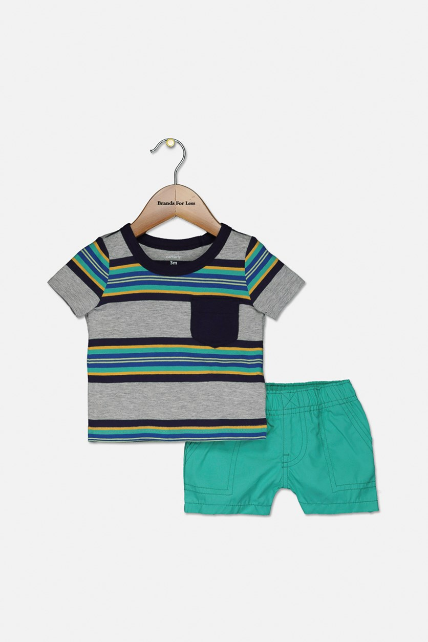 Baby Boys 2-Pc. Stripe Cotton T-Shirt & Shorts Set, Green/Blue