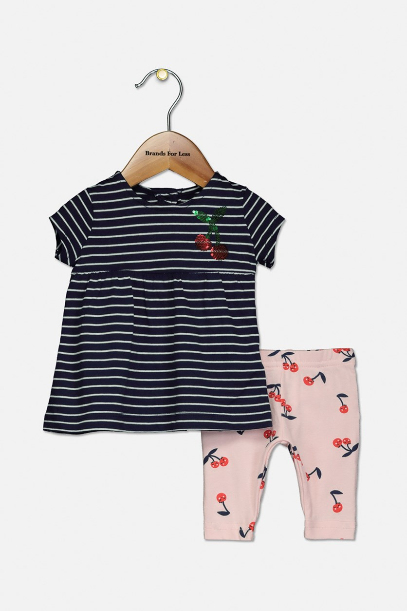 Baby Girls 2-Pc. Striped Tunic & Cherry-Print Leggings Set, Navy/Pink