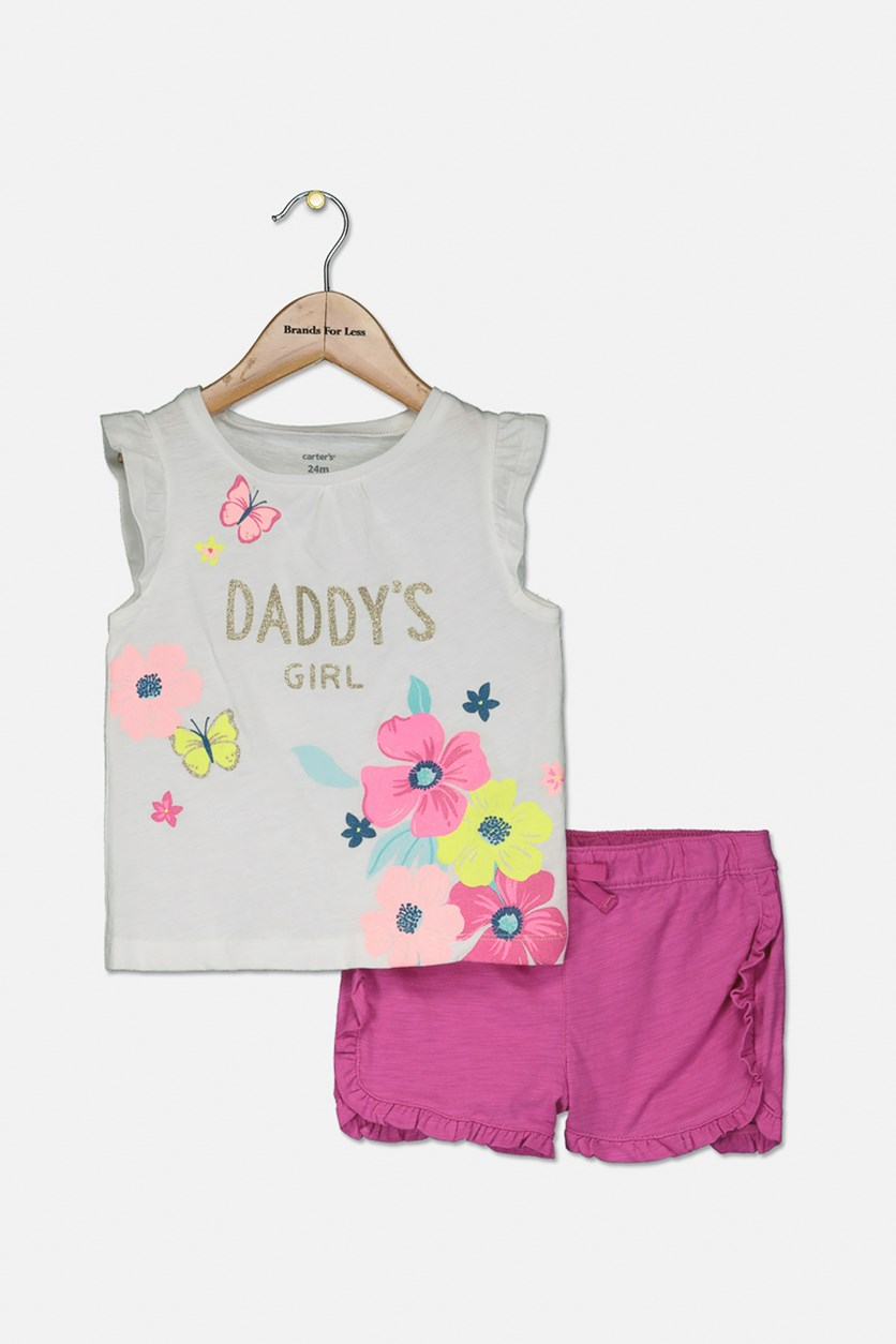 Baby Girls 2-Pc. Graphic-Print Cotton Top & Ruffle Shorts Set, White/Pink