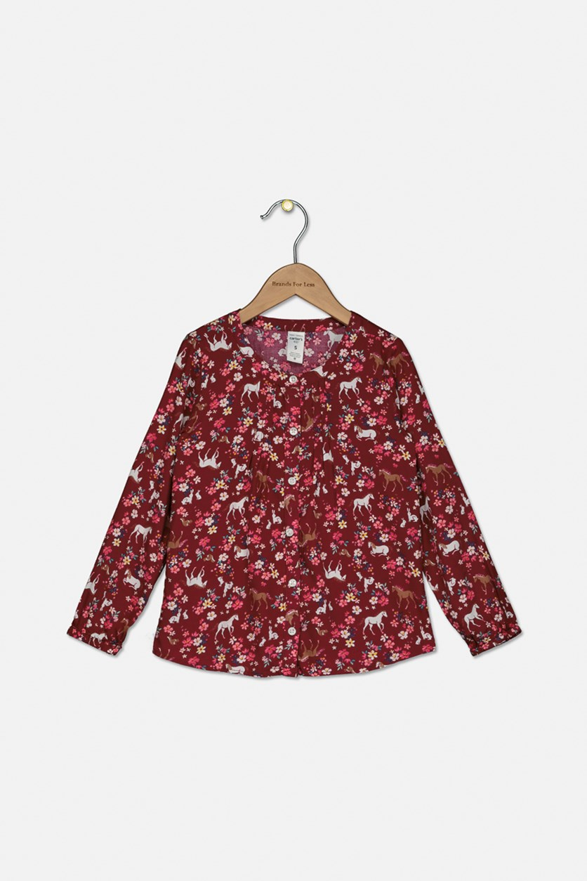 Girls Horse-Print Pintuck Shirt, Maroon