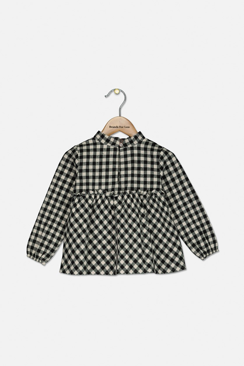 Toddler Girls Checkered Long Sleeve Shirt, Sea Salt Check