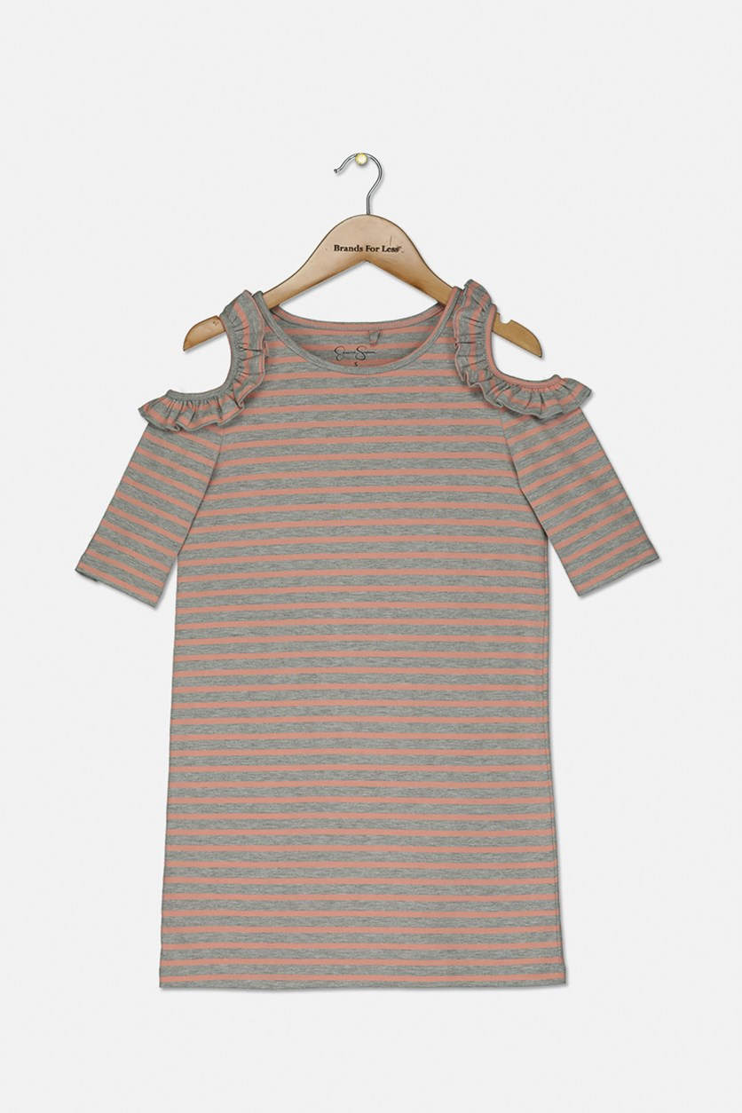 Kids Girl's Stripe Cold Shoulder Dress, Heather Grey/Peach