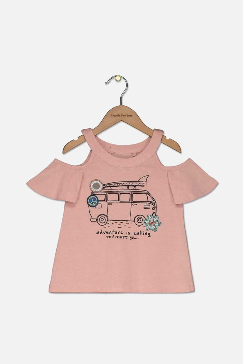 Kids Girl's Adventure is Calling' Cold Shoulder Tee, Coral Cloud Heather