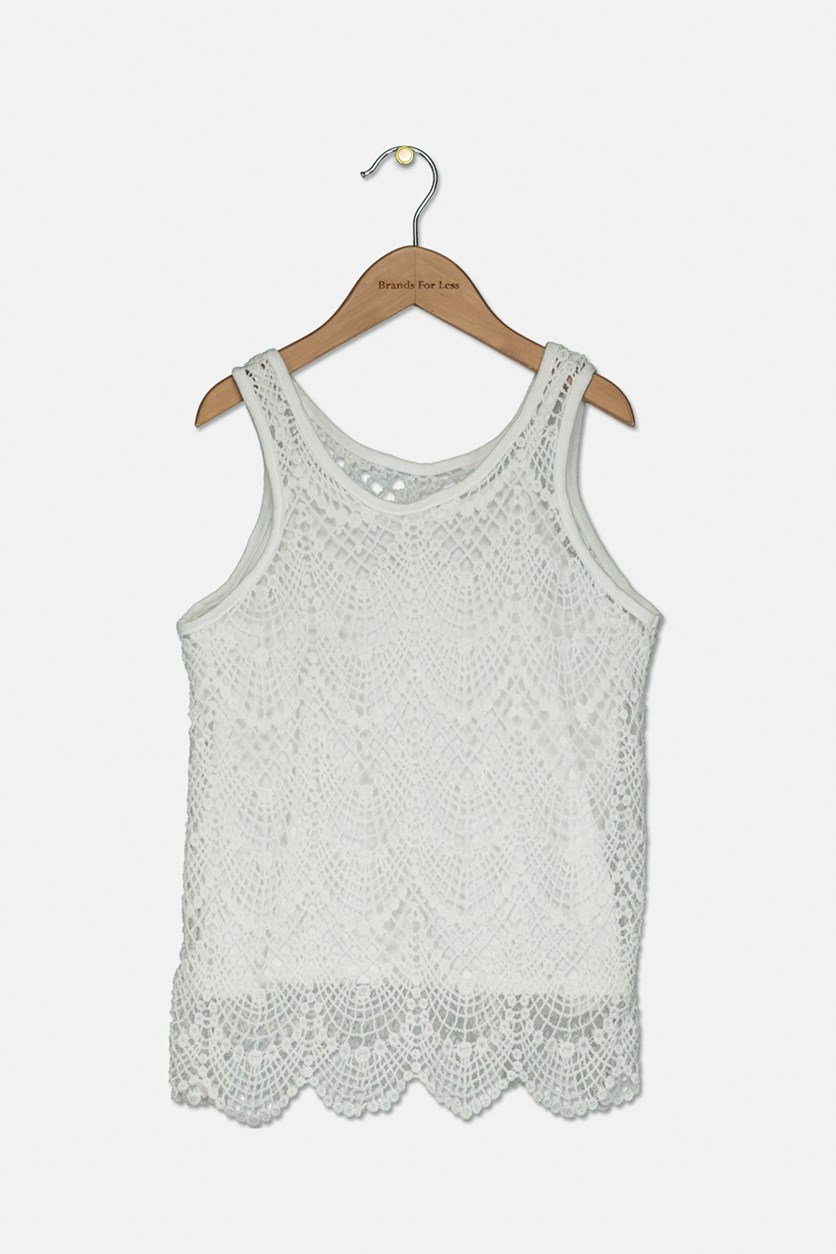 Girl's Textured Sleeveless Tops, Sea Salt/White
