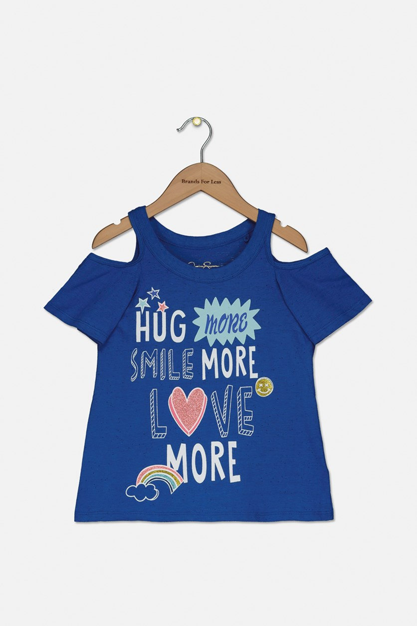 Toddler Girls Graphic Print Cold Shoulder Top, Strong Blue