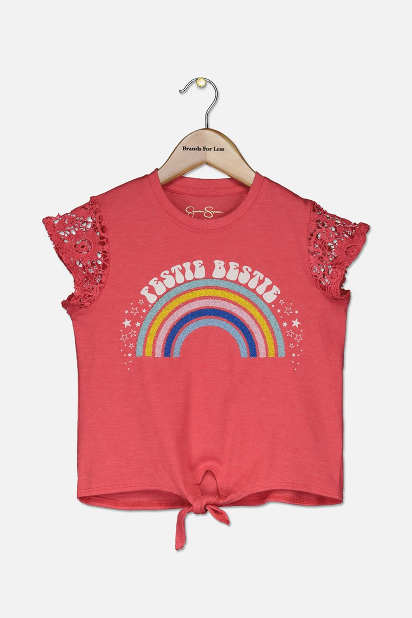 Girl's Rainbow Statement Top, Rouge Red