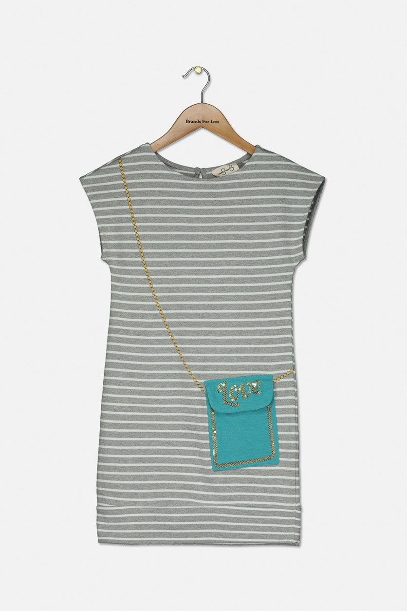 Girl's T-Shirt Dress Floral Striped, Light Heather Grey